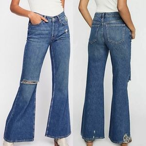 Free People Wide Leg Flare High Rise Jeans